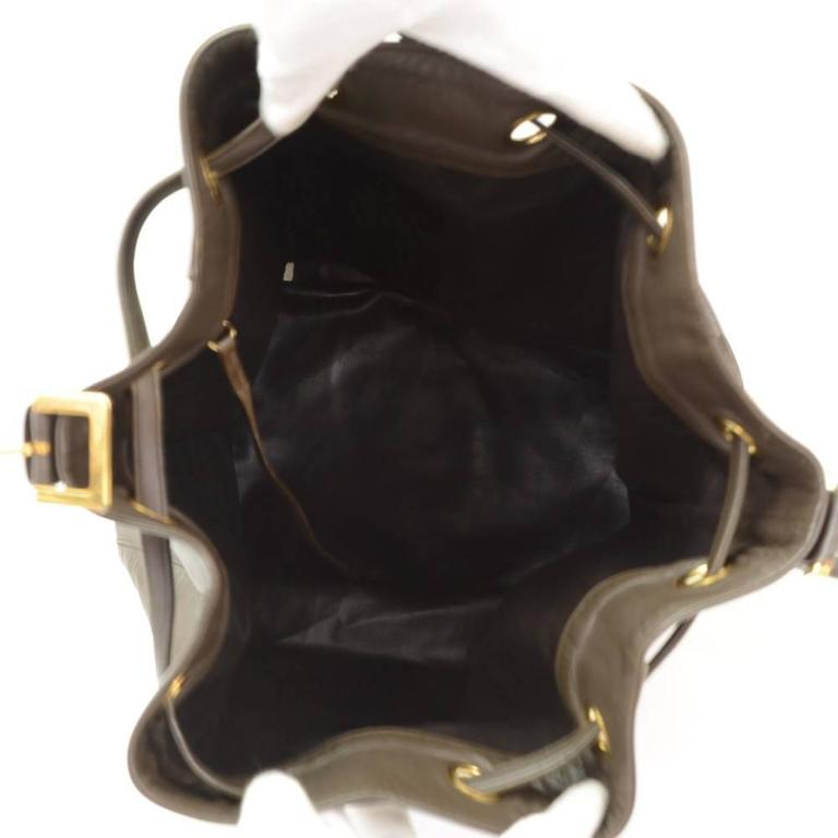Vintage Chanel Dark Brown Leather Large Bucket Backpack For Sale 2
