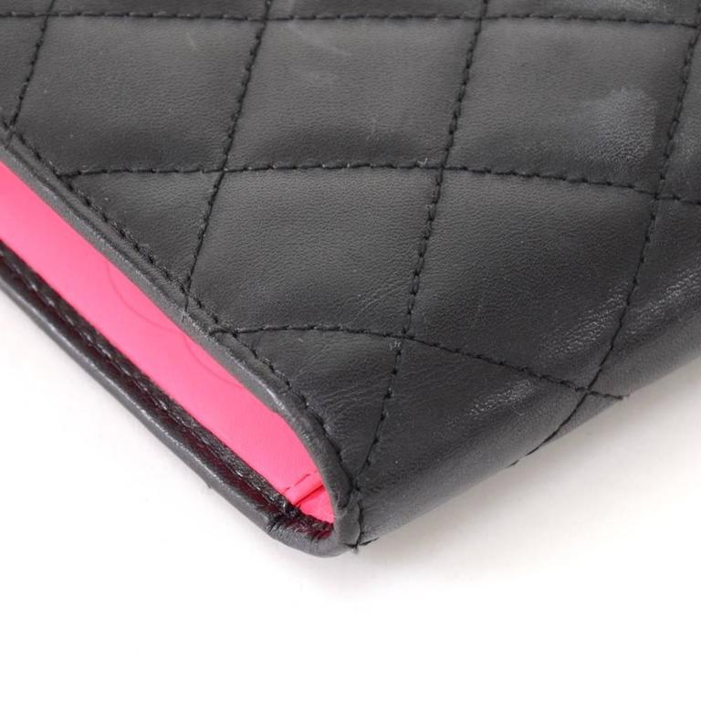Chanel Cambon Black Quilted Lambskin Leather Long Wallet For Sale 2