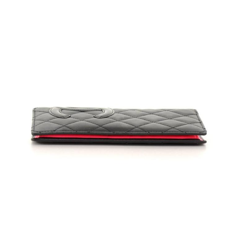 Chanel Cambon Black Quilted Lambskin Leather Long Wallet For Sale 1