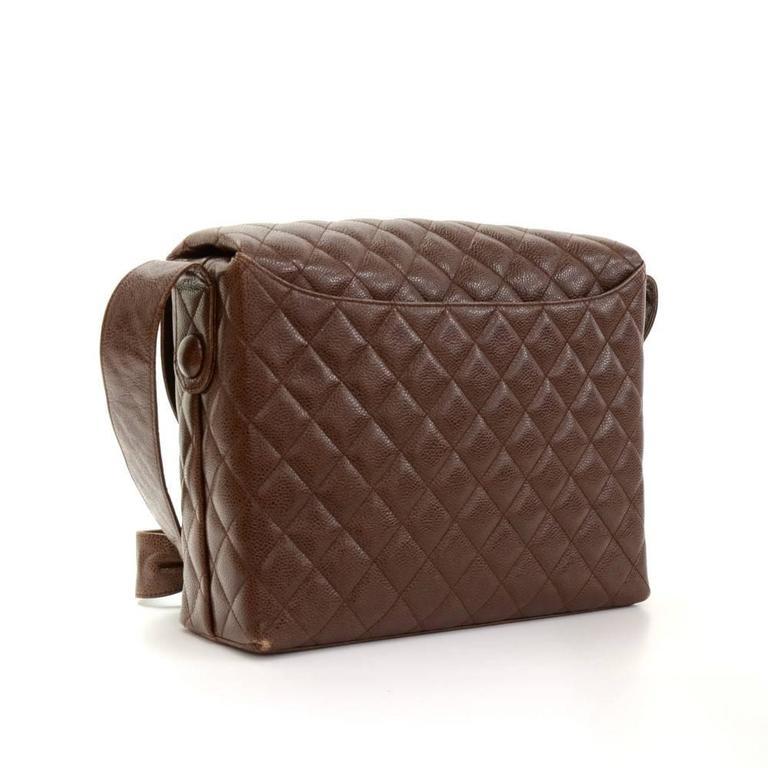 Black Vintage Chanel Dark Brown Quilted Caviar Leather Shoulder Flap Bag  For Sale bb76153283459