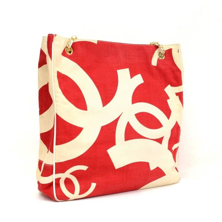 Vintage Chanel White x Red CC Logo Canvas Large Shoulder Tote Bag 3