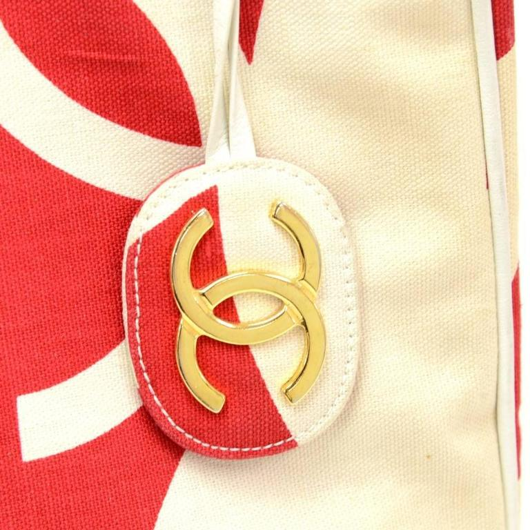 Vintage Chanel White x Red CC Logo Canvas Large Shoulder Tote Bag 8