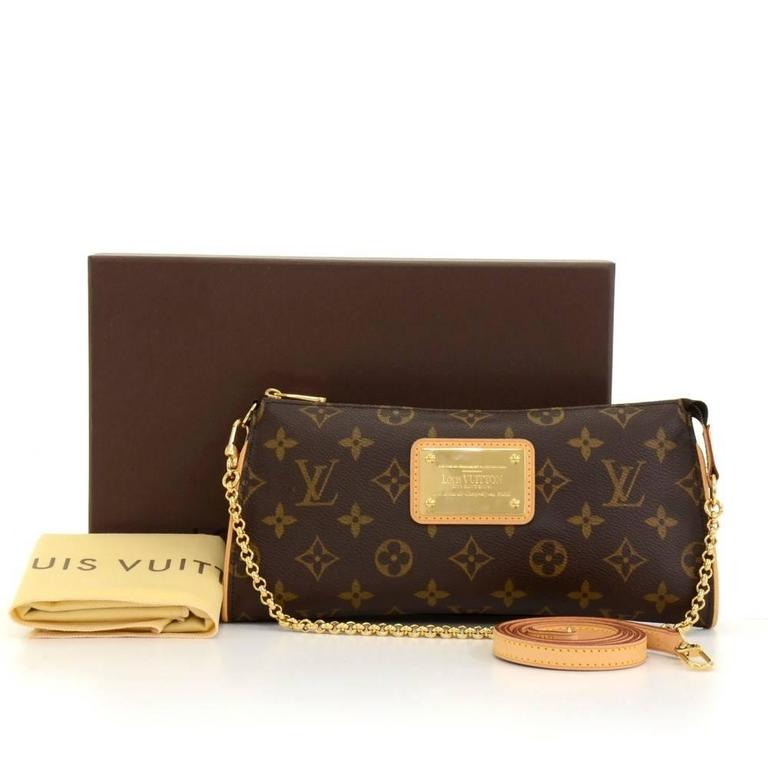 louis vuitton eva monogram canvas pochette bag   strap at 1stdibs