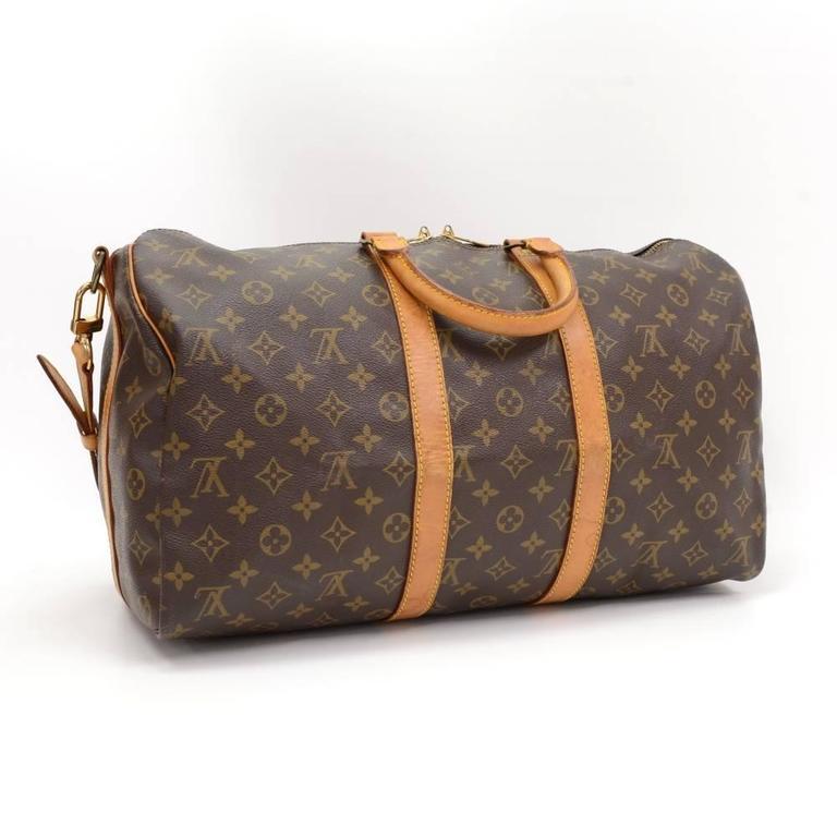 Brown Vintage Louis Vuitton Keepall 45 Bandouliere Monogram Canvas Duffle Travel Bag For