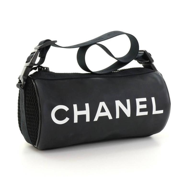 Chanel Sports Line Black Rubber Shoulder Pouch Bag at 1stdibs