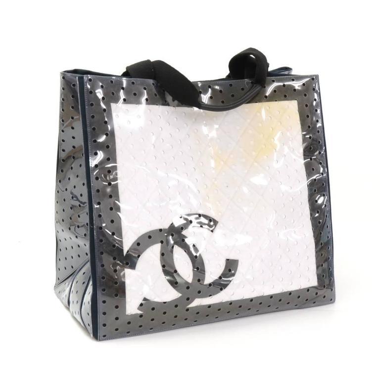 Chanel Xl White X Black Cotton X Vinyl Tote Hand Bag For