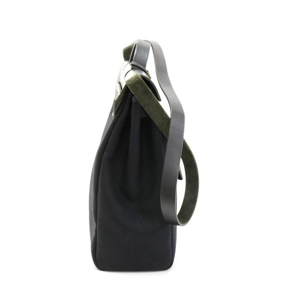58b1998afa81 ... hermes kelly bags - Hermes Herbag MM 2 in 1 Black Canvas Leather  Shoulder Hand Bag ...
