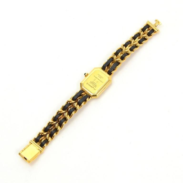 Chanel Premiere Ladies Gold Plated Quartz Black Leather Wrist Watch M Size 3