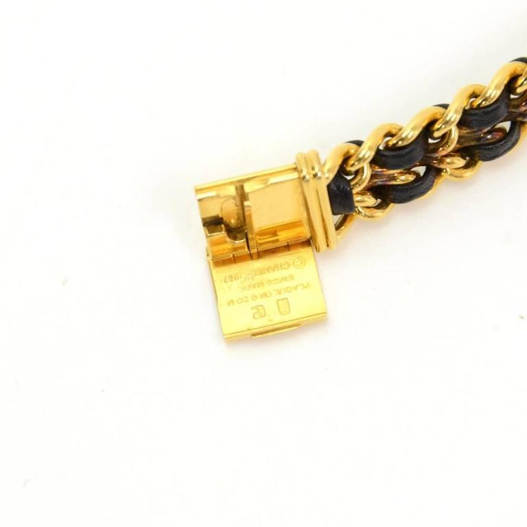 Chanel Premiere Ladies Gold Plated Quartz Black Leather Wrist Watch M Size 4