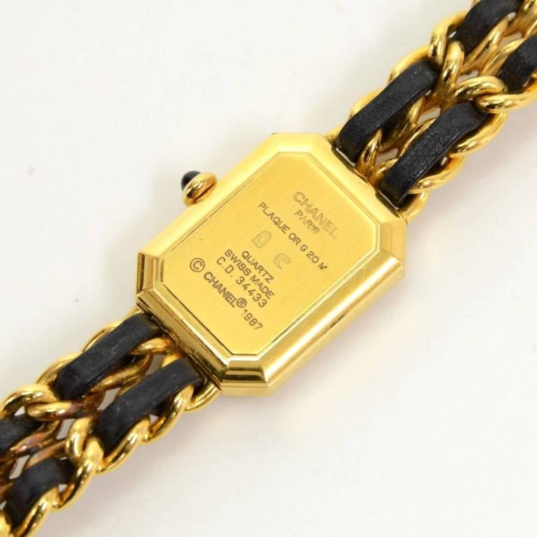 Chanel Premiere Ladies Gold Plated Quartz Black Leather Wrist Watch M Size 5