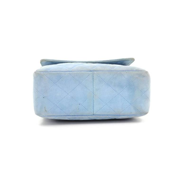Chanel Light Blue Quilted Suede Leather Flap Hand Bag For Sale 2