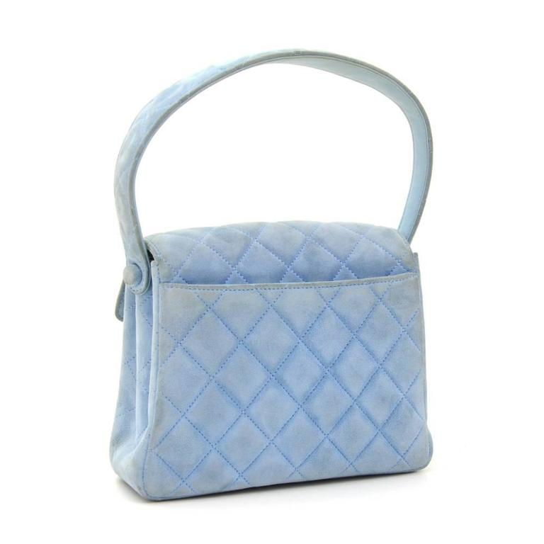 Chanel Light Blue Quilted Suede Leather Flap Hand Bag In Good Condition For Sale In Fukuoka, Kyushu