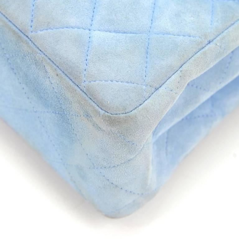 Chanel Light Blue Quilted Suede Leather Flap Hand Bag For Sale 3