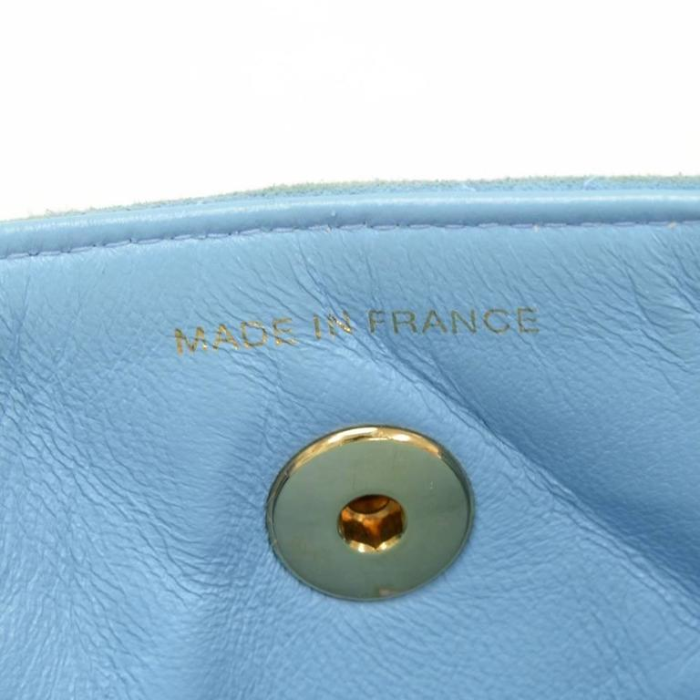 Chanel Light Blue Quilted Suede Leather Flap Hand Bag For Sale 4