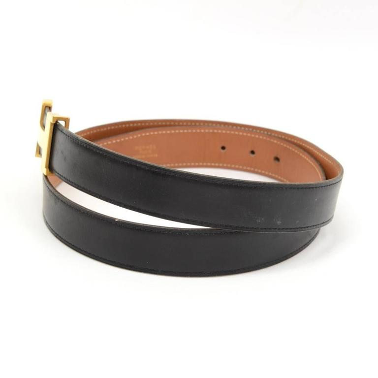 hermes brown x black leather x gold tone h buckle belt