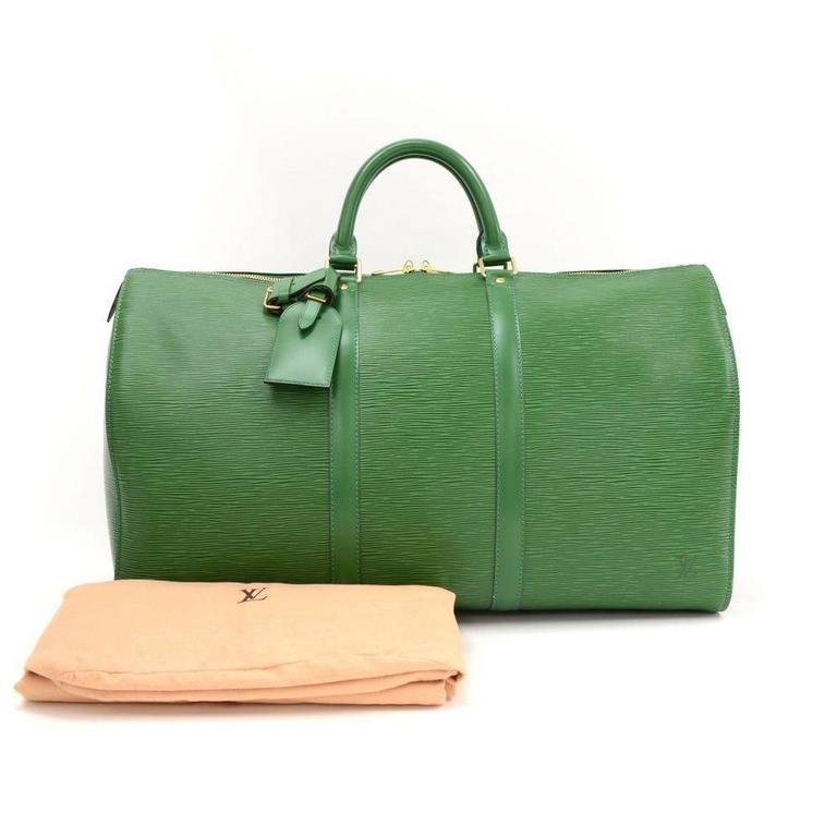 Vintage Louis Vuitton Keepall 50 Green Epi Leather Travel Bag 2