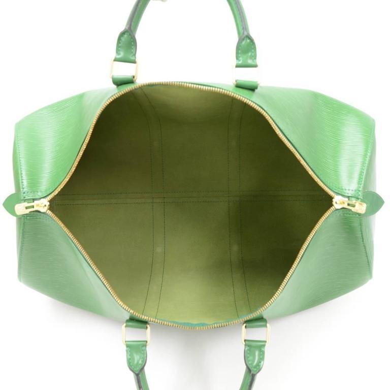 Vintage Louis Vuitton Keepall 50 Green Epi Leather Travel Bag 10