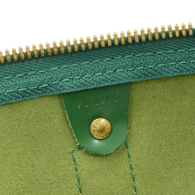Vintage Louis Vuitton Keepall 50 Green Epi Leather Travel Bag 9