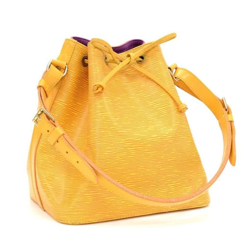 Vintage Louis Vuitton Petit Noe Yellow Epi Leather Shoulder Bag 2