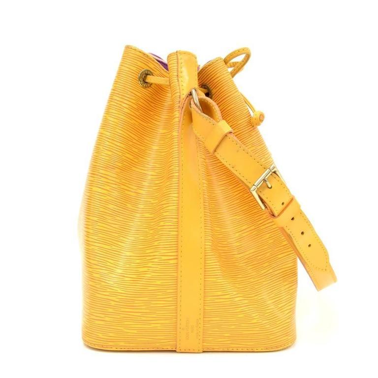 Vintage Louis Vuitton Petit Noe Yellow Epi Leather Shoulder Bag 5
