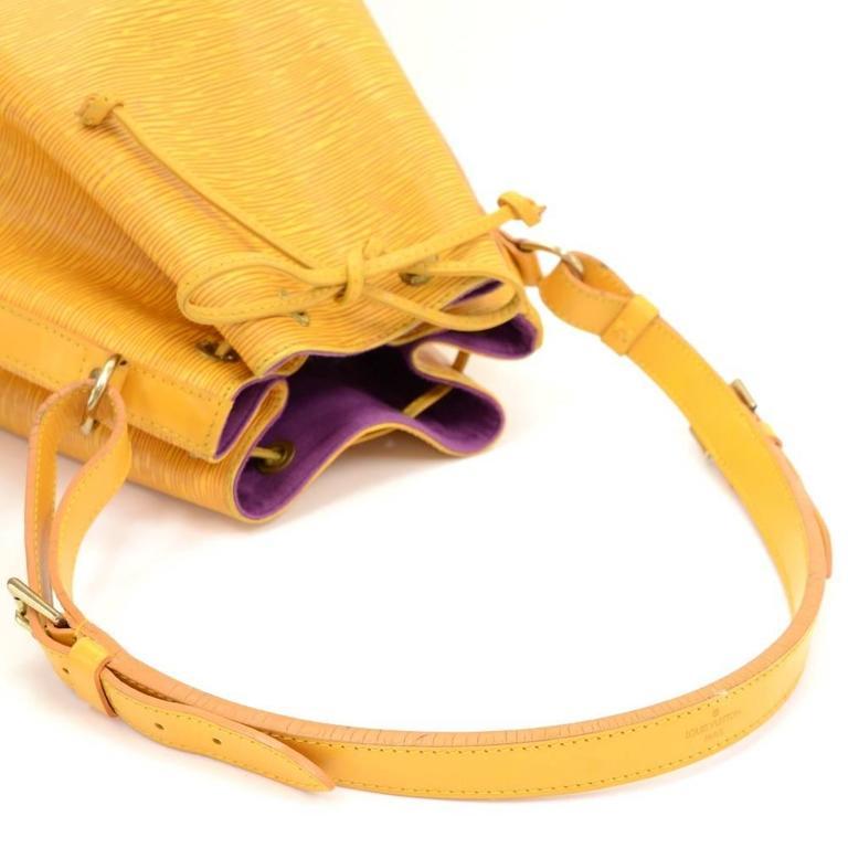 Vintage Louis Vuitton Petit Noe Yellow Epi Leather Shoulder Bag 7