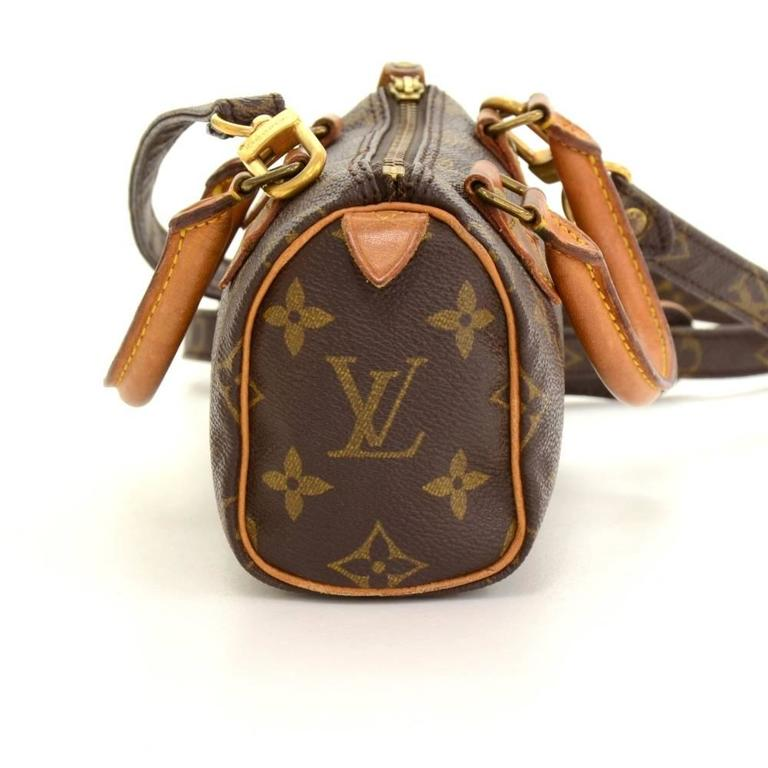 Vintage Louis Vuitton Mini Speedy Sac HL Monogram Canvas Hand Bag + Strap In Good Condition For Sale In Fukuoka, JP