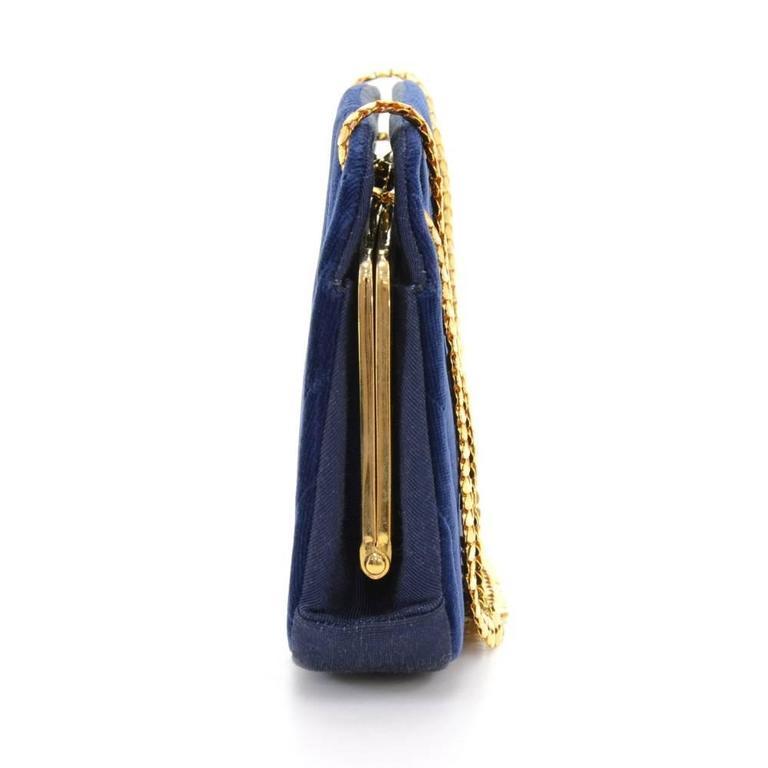 Chanel Blue Navy Quilted Velvet Shoulder Party Bag 5