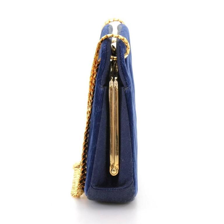 Chanel Blue Navy Quilted Velvet Shoulder Party Bag 4