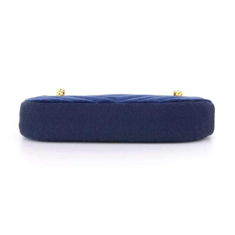 Chanel Blue Navy Quilted Velvet Shoulder Party Bag 6