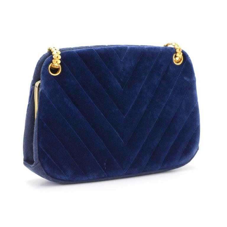 Chanel Blue Navy Quilted Velvet Shoulder Party Bag 3