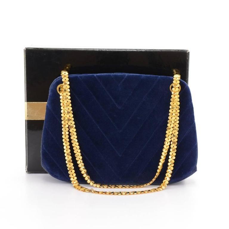 Chanel Blue Navy Quilted Velvet Shoulder Party Bag 2