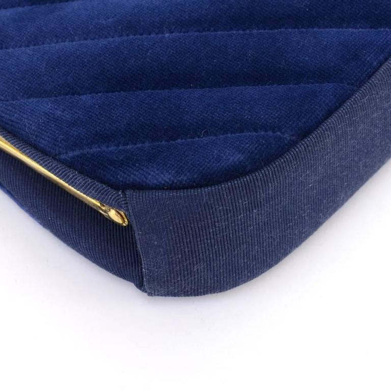 Chanel Blue Navy Quilted Velvet Shoulder Party Bag 8