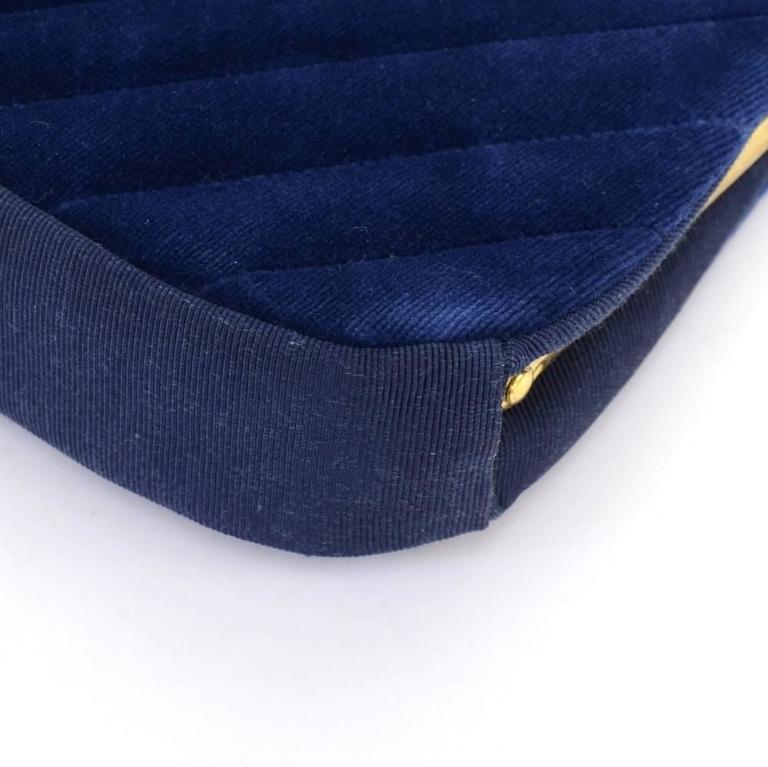 Chanel Blue Navy Quilted Velvet Shoulder Party Bag 7