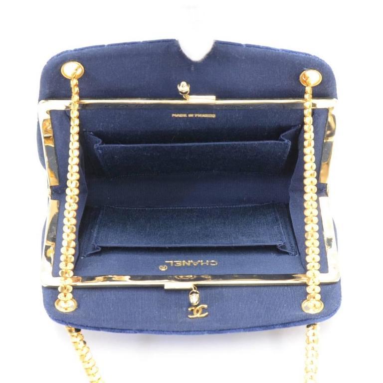 Chanel Blue Navy Quilted Velvet Shoulder Party Bag 10