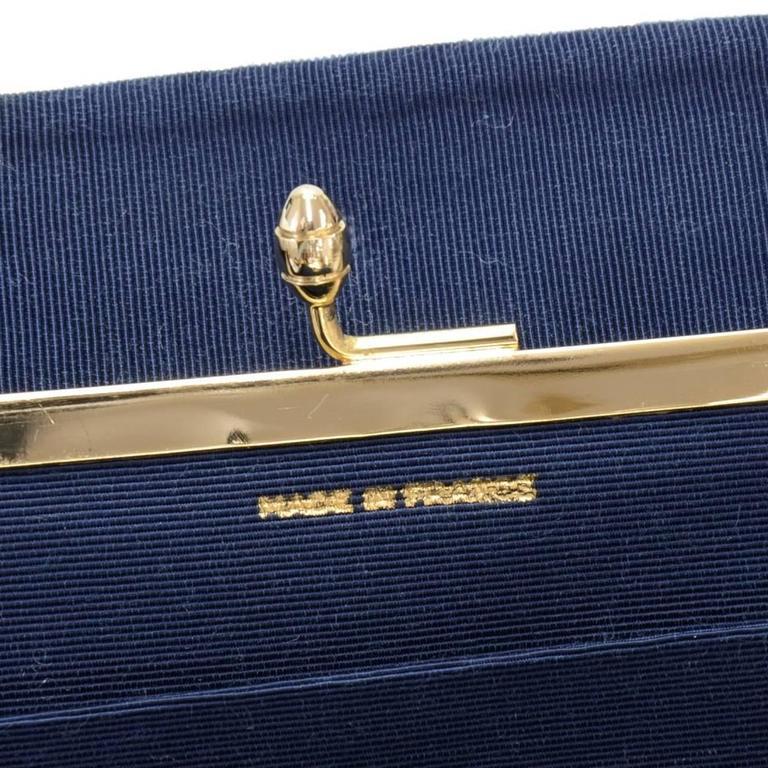 Chanel Blue Navy Quilted Velvet Shoulder Party Bag 9