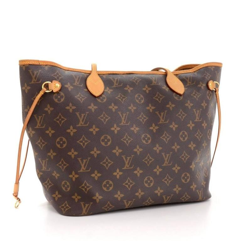 Brown Louis Vuitton Neverfull MM Monogram Canvas Shoulder Tote Bag For Sale