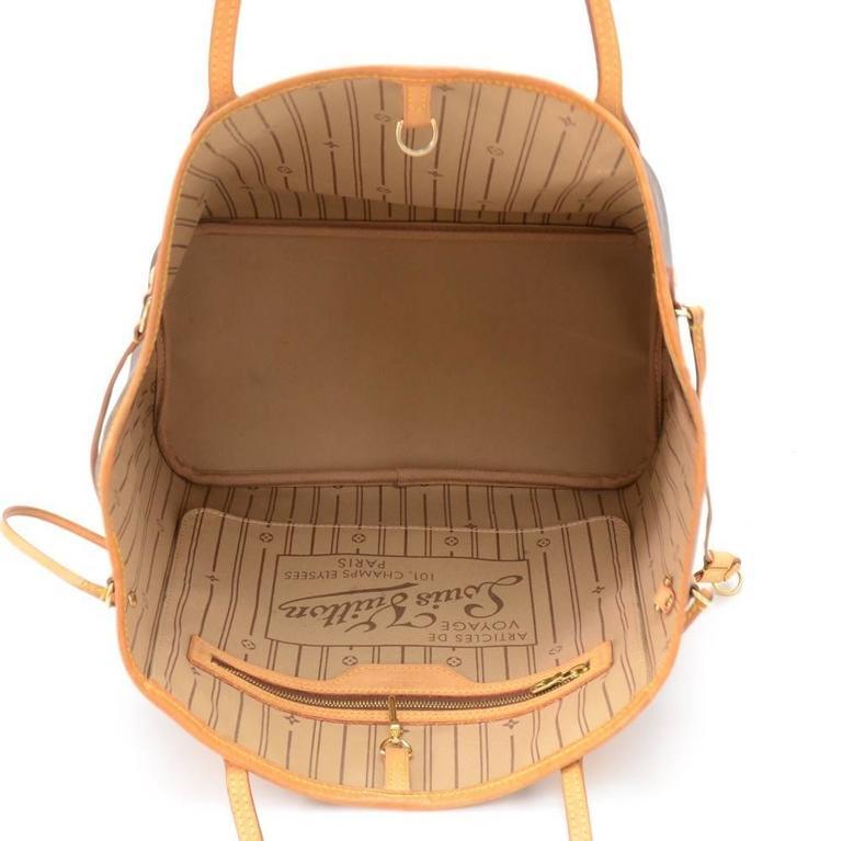 Louis Vuitton Neverfull MM Monogram Canvas Shoulder Tote Bag 10
