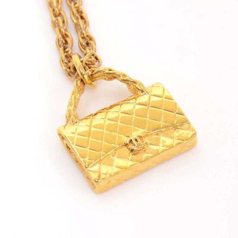 Chanel necklace in gold tone. Chanel CC Made in France is engraved on the chain. Beautiful and rare item! Size: Chain drop is app 8.3 inches or 21 cm, pendant top app 0.9 x 1 inch or 2 x 3 cm.  Made in: France Size: 8.3 x 0 x 0 inches or 21 x 0 x