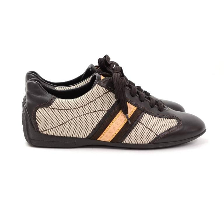 Black Louis Vuitton Dark Brown Leather x Canvas Sneakers Made in Italy Size 341/2 For Sale