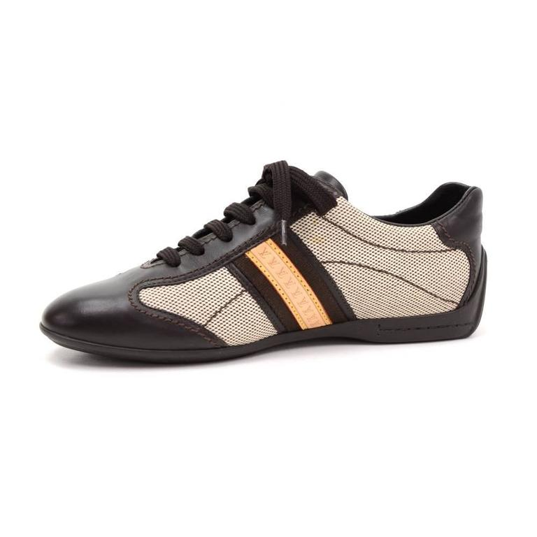 Louis Vuitton Dark Brown Leather x Canvas Sneakers Made in Italy Size 341/2 For Sale 2