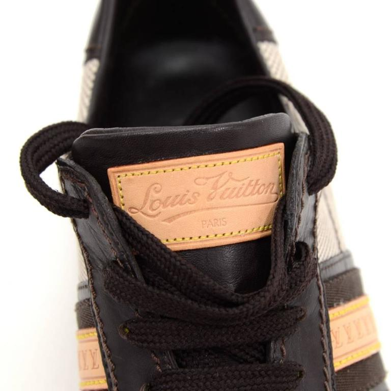 Louis Vuitton Dark Brown Leather x Canvas Sneakers Made in Italy Size 341/2 For Sale 5