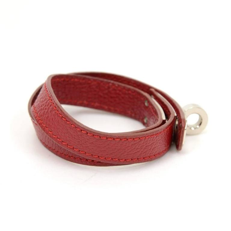 Brown Hermes Kelly Burgundy Leather x Silver Tone Bracelet For Sale