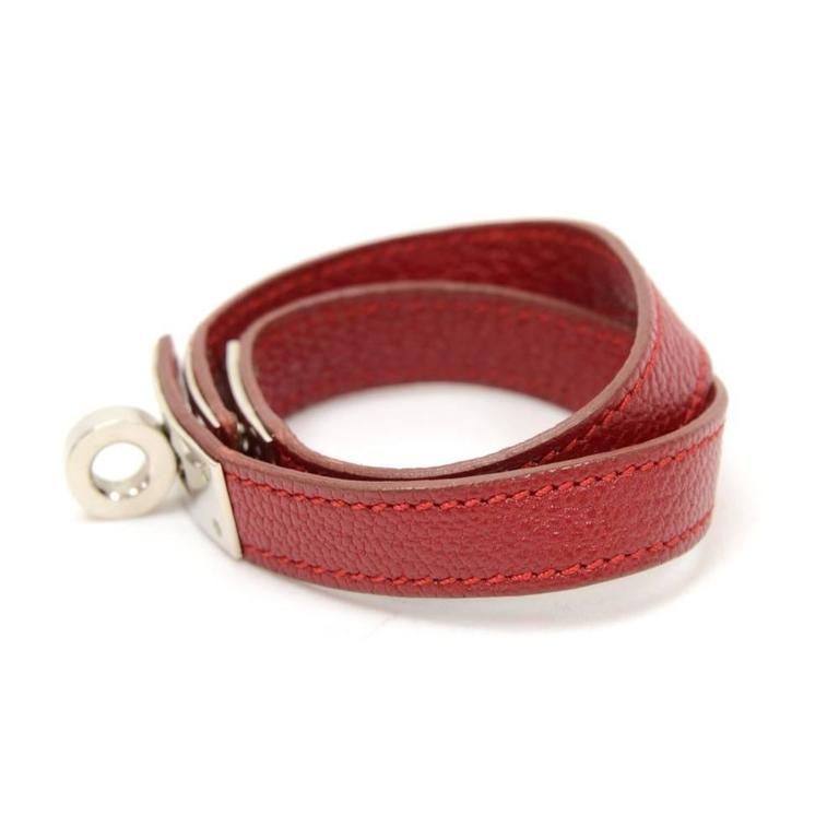 Hermes Kelly Burgundy Leather x Silver Tone Bracelet In Excellent Condition For Sale In Fukuoka, Kyushu