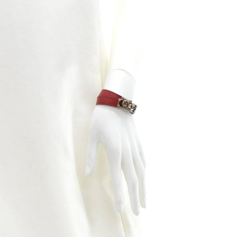 Hermes Kelly Burgundy Leather x Silver Tone Bracelet For Sale 1
