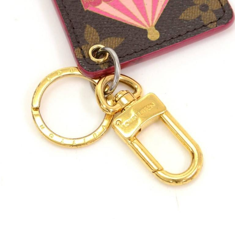 Brown Louis Vuitton Illustre Carousel Monogram Gold Tone Key Chain/Holder For Sale