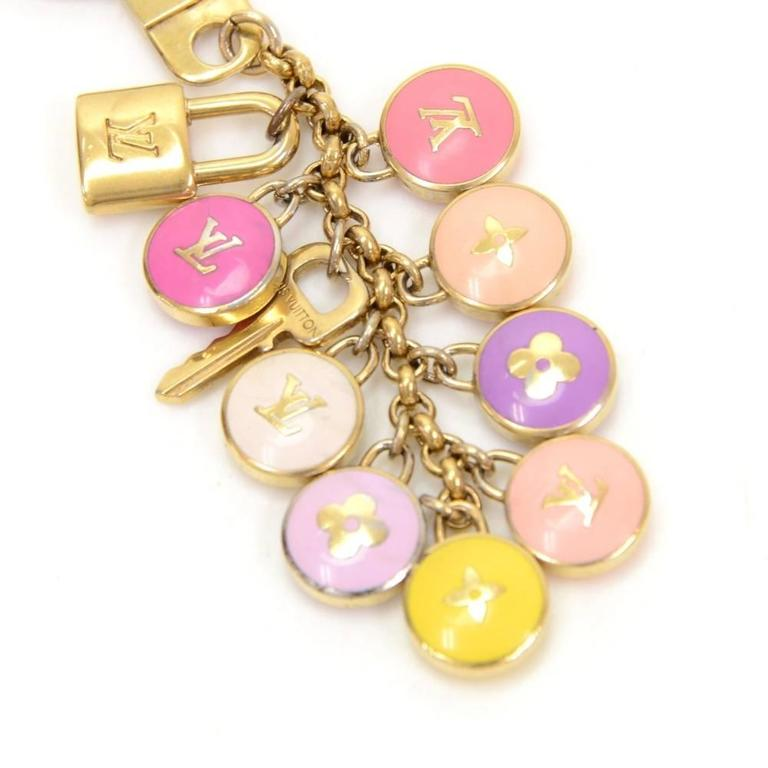 Louis Vuitton Pastilles Multicolor Gold Tone Key Chain / Charm 5