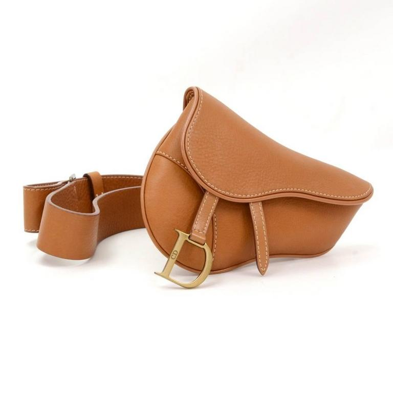 Christian Dior Brown Leather Saddle Pochette Waist Bag In Excellent Condition For Sale In Fukuoka, JP