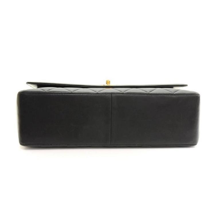 "Vintage Chanel 13"" Maxi Jumbo Black Quilted Leather Shoulder Flap Bag For Sale 2"
