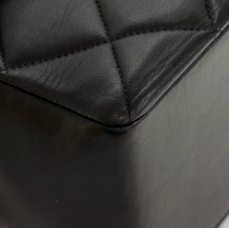 "Vintage Chanel 13"" Maxi Jumbo Black Quilted Leather Shoulder Flap Bag For Sale 3"