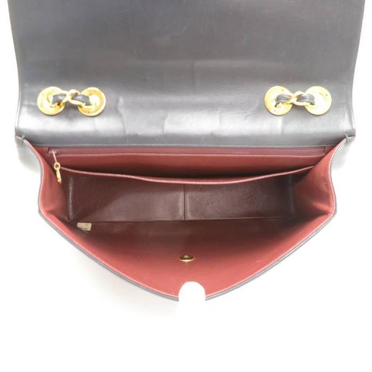 "Vintage Chanel 13"" Maxi Jumbo Black Quilted Leather Shoulder Flap Bag For Sale 6"